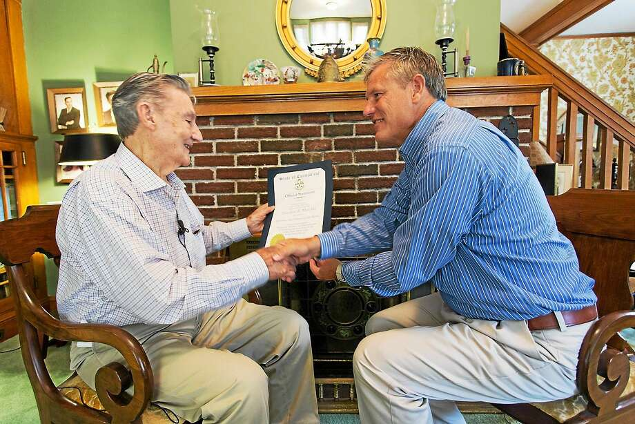 Contributed photo State Sen. Kevin Witkos, R-8, named Theodore R. Marolda, of Winsted, the Veteran of the Month this September. Photo: Journal Register Co. / All Rights Reserved