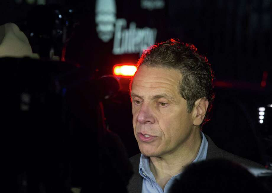 Gov. Andrew Cuomo speaks to reporters near the main entrance of the Indian Point nuclear power plant in Buchanan, N.Y. on Saturday, May 9, 2015 after an Entergy company spokesperson said a transformer failed and caused a fire at the Unit 3 nuclear power plant. The fire was extinguished and the unit shut down automatically according to the company. (AP Photo/Craig Ruttle) Photo: AP / FR61802 AP