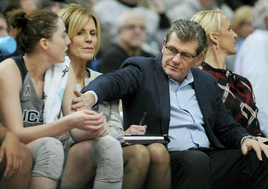 UConn coach Geno Auriemma is looking for more from freshman Katie Lou Samuelson, left, on the court. Photo: Jessica Hill — The Associated Press  / FR125654 AP