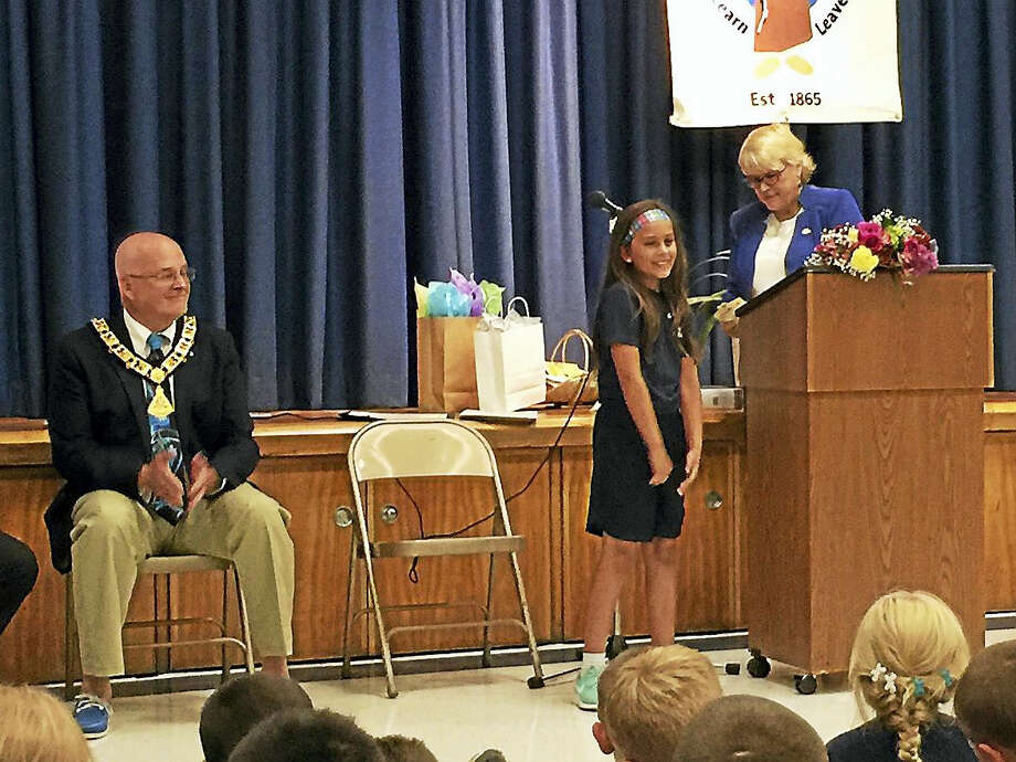Lila Alderete was recognized as the nationwide winner of a poster contest organized through the Elks National Drug Awareness Program Friday in Winsted. Photo: Ben Lambert — The Register Citizen