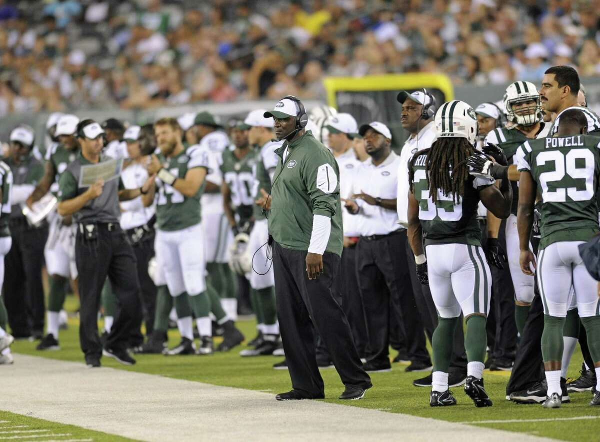 Jets coach Todd Bowles looks on during a recent preseason game.