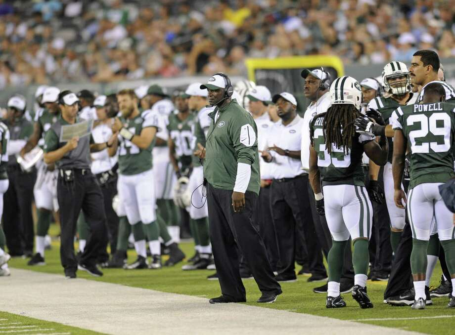 Jets coach Todd Bowles looks on during a recent preseason game. Photo: Bill Kostroun — The Associated Press  / FR51951 AP