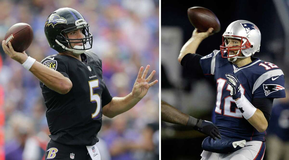 Joe Flacco and the Baltimore Ravens will meet Tom Brady and the New England Patriots in an AFC divisional playoff game in Foxborough, Mass.