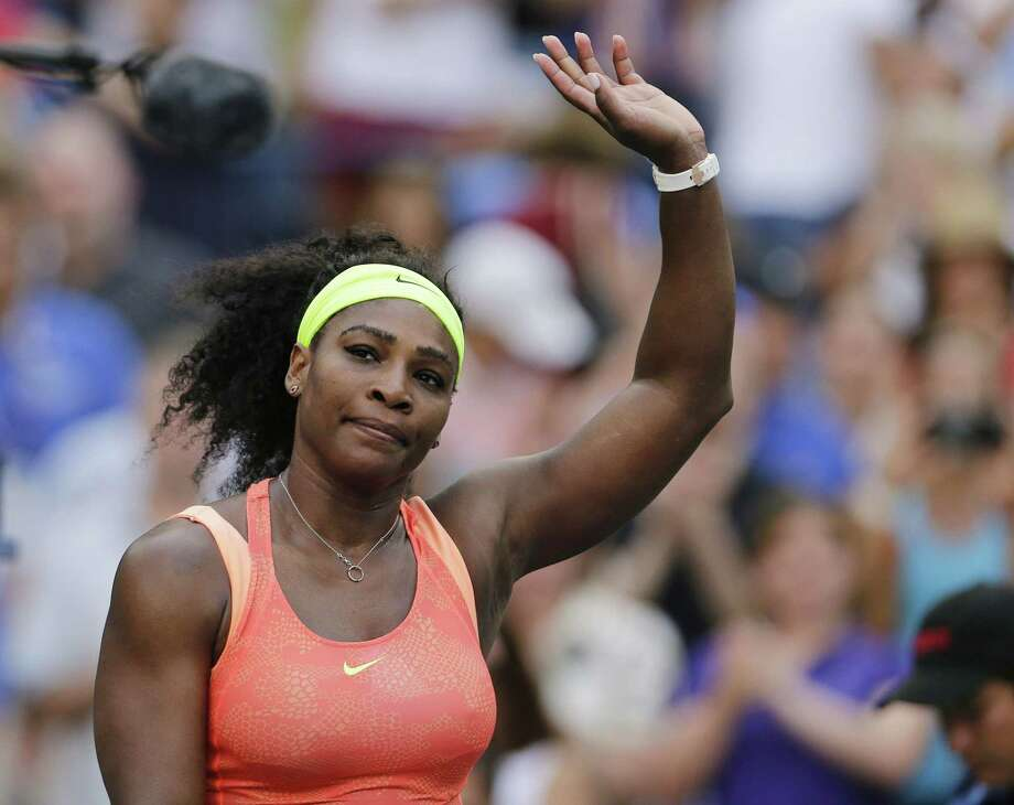 Serena Williams waves to fans after winning her match against Madison Keys on Sunday. Photo: Charles Krupa — The Associated Press  / AP