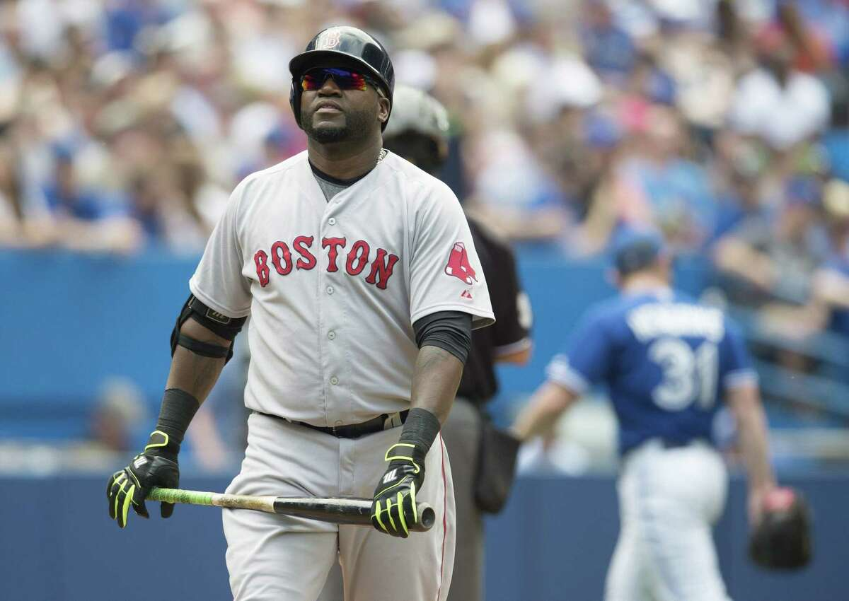 Boston Red Sox DH David Ortiz reacts after popping out to third base during the seventh inning of Saturday's loss to the Blue Jays in Toronto.