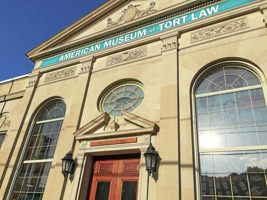 Signage has recently been installed at the American Museum of Tort Law, at 654 Main St. in Winsted. Photo: Ben Lambert — The Register Citizen