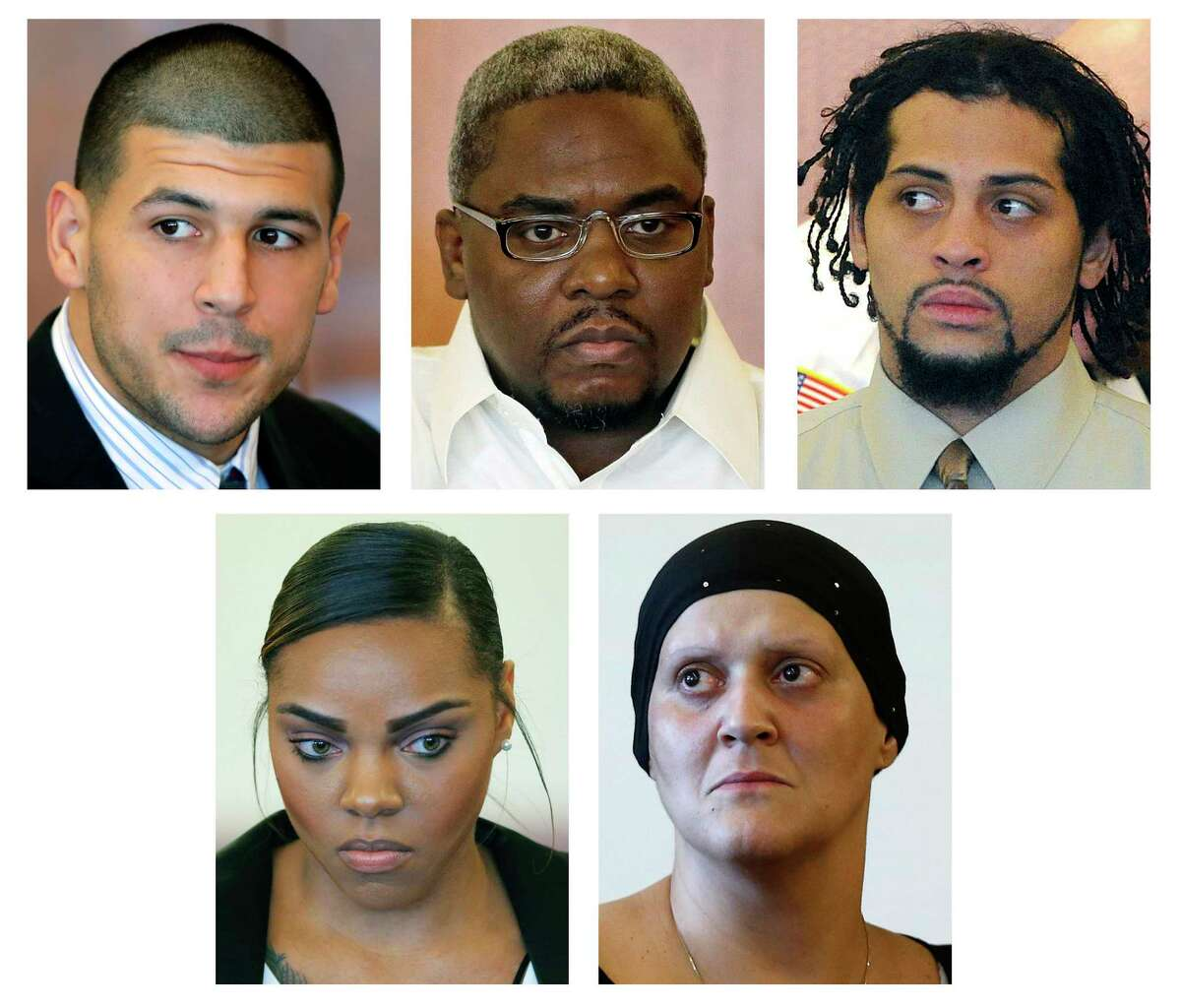 This panel of file photos shows some of those who are connected to the murder trial of former New England Patriots tight end Aaron Hernandez; top row from left: Aaron Hernandez; and co-defendants to be tried separately Ernest Wallace and Carlos Ortiz. Bottom row, from left; Shayanna Jenkins, Hernandezís fiancee charged with perjury; Tanya Singleton, Hernandez's cousin, charged with conspiracy to commit accessory after the fact. Jury selection begins for Hernandez's murder trial on Friday, Jan. 9, 2015, in Fall River, Mass.