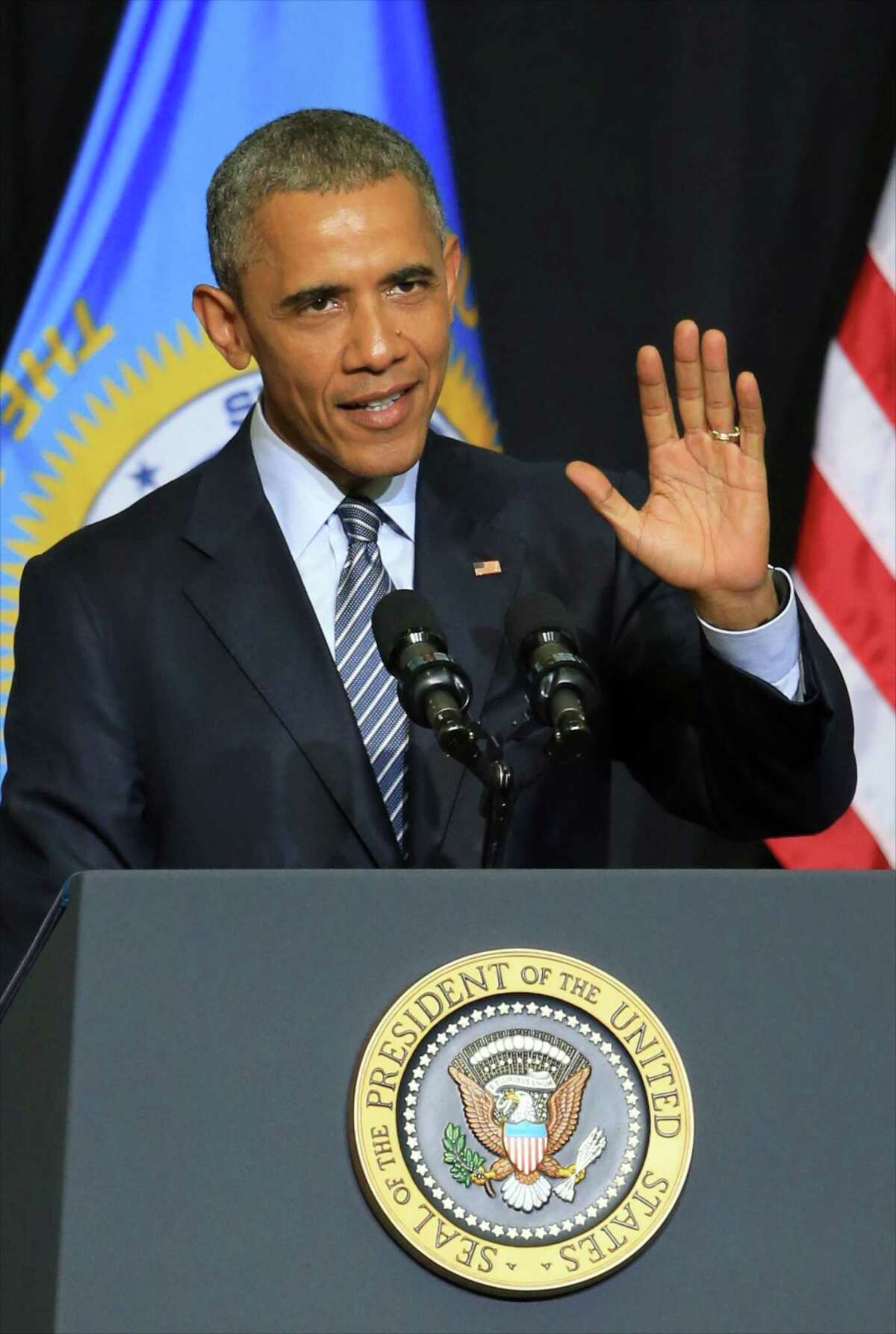 President Barack Obama delivers the commencement address to the 2015 graduating class of Lake Area Technical Institute, in Watertown, S.D. on May 8, 2015.