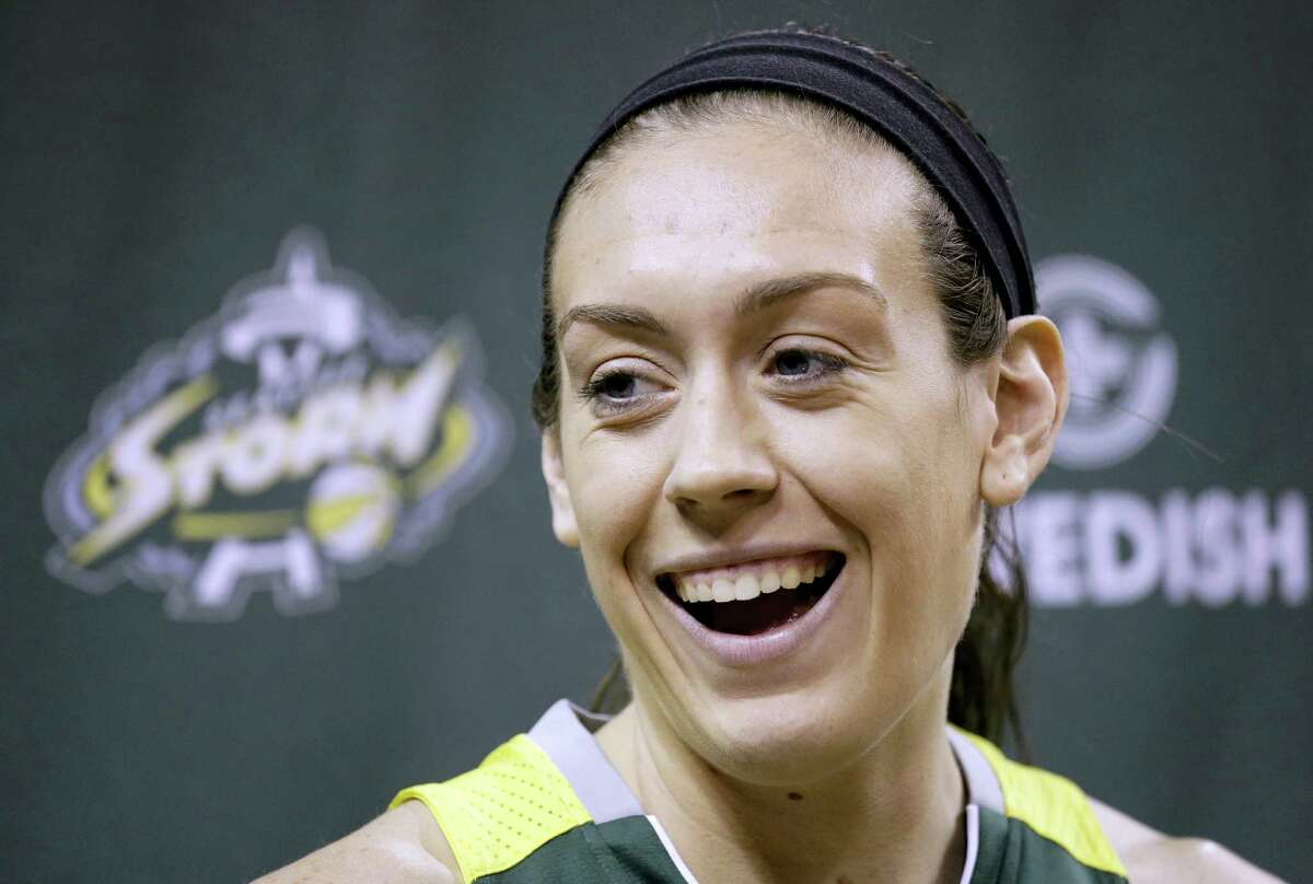 Breanna Stewart smiles as she is interviewed during the Seattle Storm's annual media day.