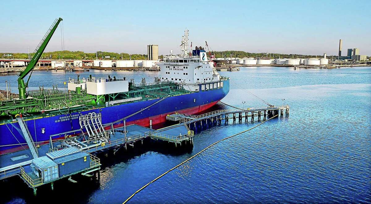 """(Catherine Avalone - New Haven Register) The vessel, """"NAVIG8 ALMANDINE"""", a chemical and oil products tanker arrived at the New Haven Port Authority on Thursday, May 7 from Port Hamburg in Germany. The vessel was photographed, Friday, May 8, 2015, from the Long Wharf Maritime Center Garage."""
