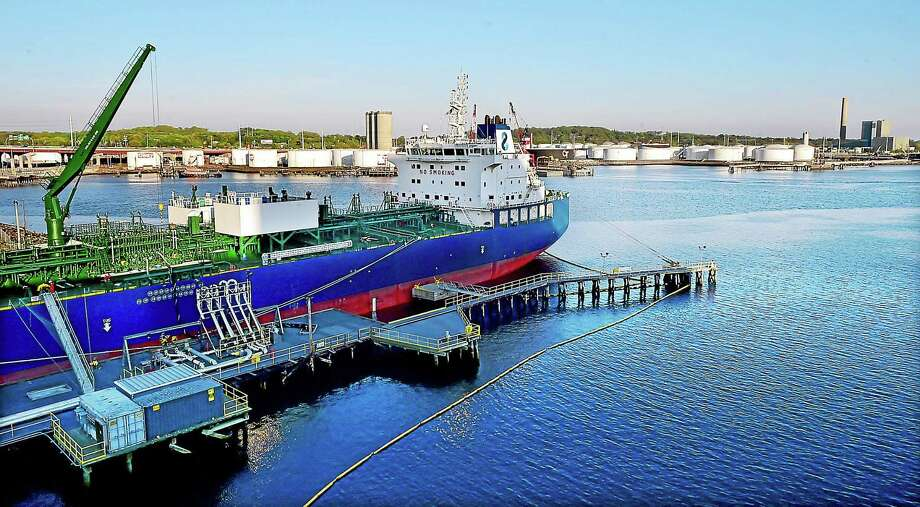 "(Catherine Avalone - New Haven Register) The vessel, ""NAVIG8 ALMANDINE"", a chemical and oil products tanker arrived at the New Haven Port Authority on Thursday, May 7 from Port Hamburg in Germany. The vessel was photographed, Friday, May 8, 2015, from the Long Wharf Maritime Center Garage. Photo: Journal Register Co. / New Haven RegisterThe Middletown Press"