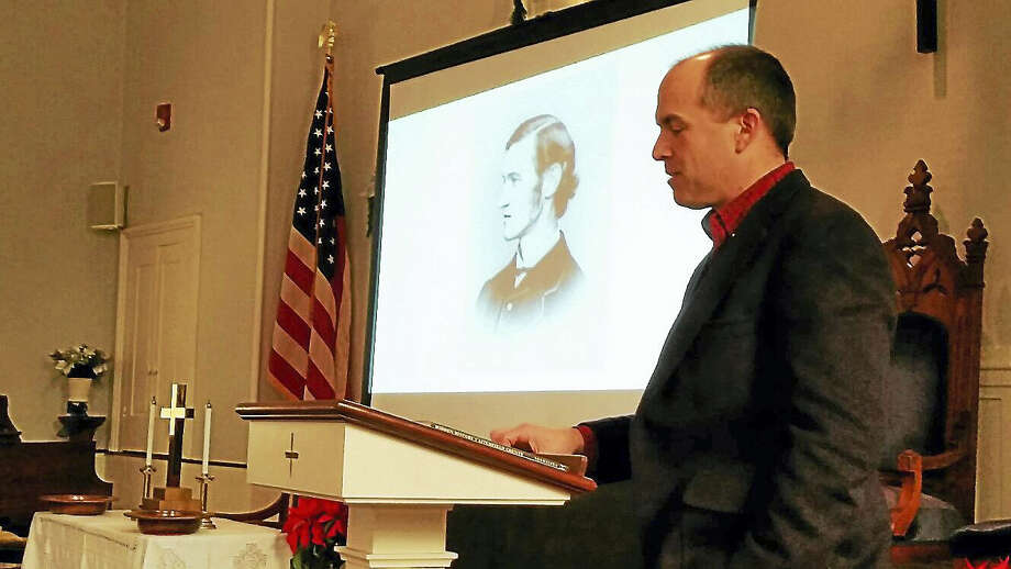 Local historian Peter Vermilyea gave a talk on American Civil War Union Army soldier Dorence Atwater at First Congregational Church at 835 Riverside Ave. in Torrington Saturday afternoon. Atwater was a Terryville native who survived the notorious Andersonville Prisoners of War camp in Georgia and later government resistance to publishing nearly 13,000 names of missing Union soldiers. Photo: N.F. Ambery — The Register Citizen