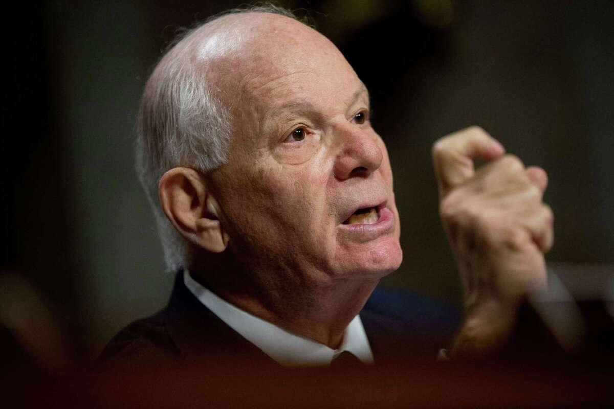 In this July 23, 2015 file photo, Ranking Member Sen. Ben Cardin, D-Md. is seen during a Senate Foreign Relations Committee hearing on Capitol Hill to review the Iran nuclear agreement. Cardin, the top Democrat on the Foreign Relations Committee, has announced he opposes the nuclear deal with Iran.