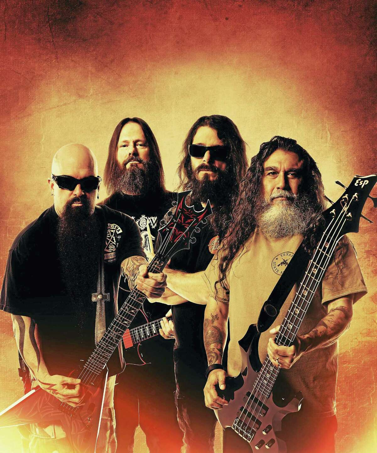 From left, Kerry King, Gary Holt, Paul Bostaph and Tom Araya of Slayer.