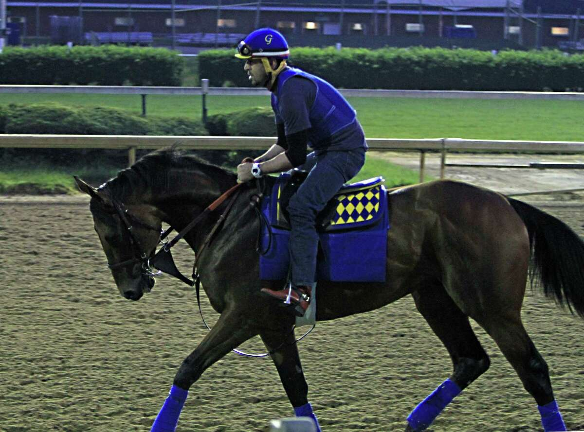 Exercise rider Jorge Alvarez jogs Kentucky Derby winner American Pharoah the wrong way around the track on Thursday at Churchill Downs in Louisville, Ky.
