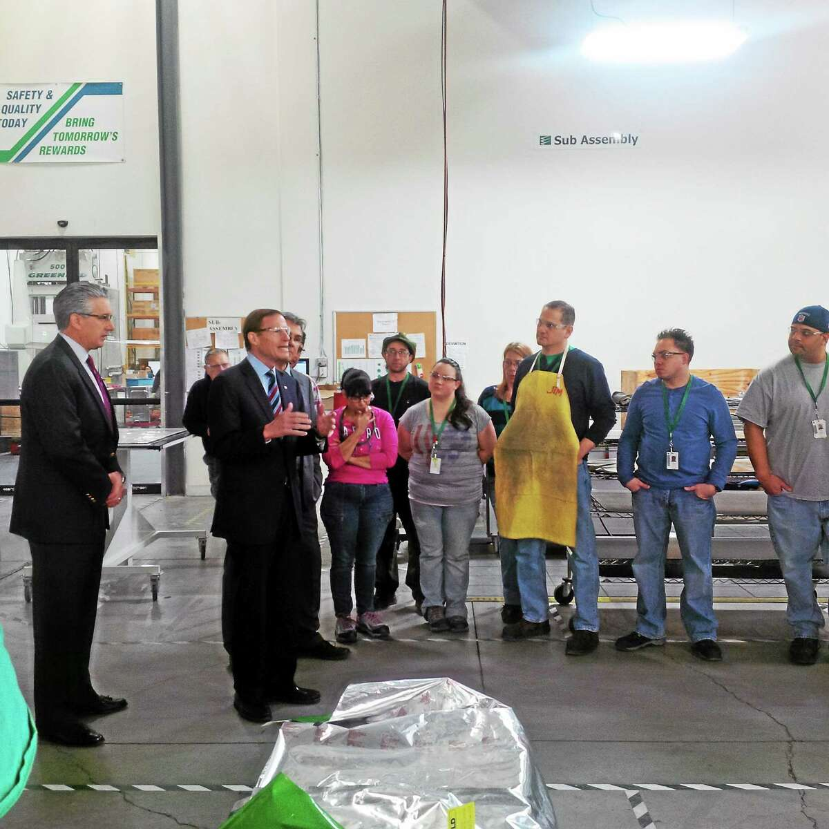 U.S. Sen. Richard Blumenthal speaks to employees at FuelCell Energy in Torrington on Friday.