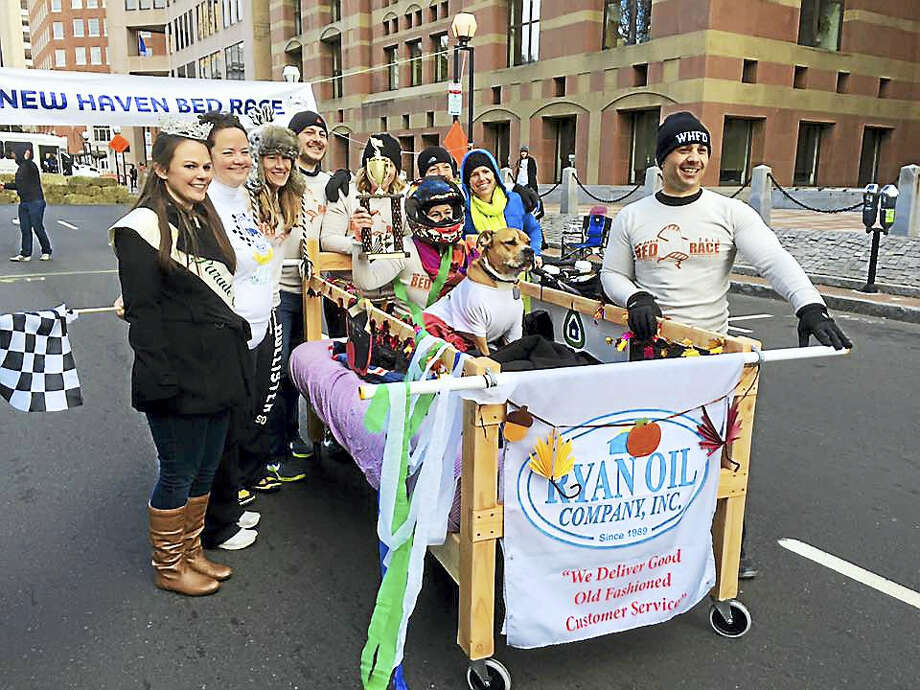 Winners of last year's Greater New Haven Bed Race. Photo: Photo Courtesy Of New Haven Bed Race
