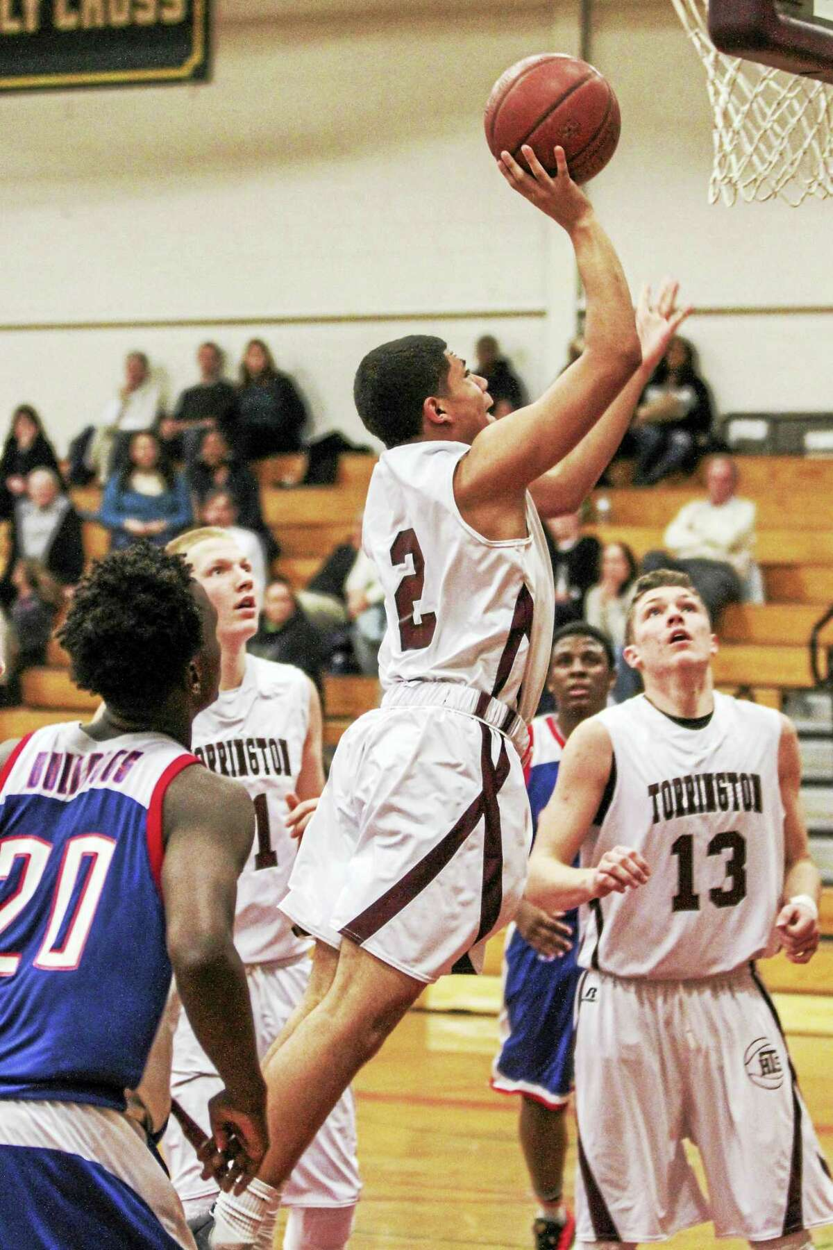 Stephon Dailey of Torrington goes up for a shot in his team's loss to Crosby Friday night.