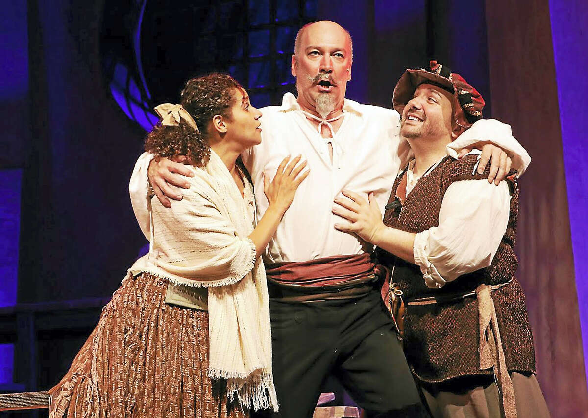 "From left, Thalia Thiesfield, David Pittsinger and Brian Michael Hoffman as Dulcinae, Quixote and Sancho in ""Man of La Mancha."""