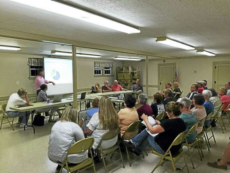 Morris residents weighed-in on the third municipal budget proposal for 2016-17 Wednesday evening. Photo: Ben Lambert — The Register Citizen