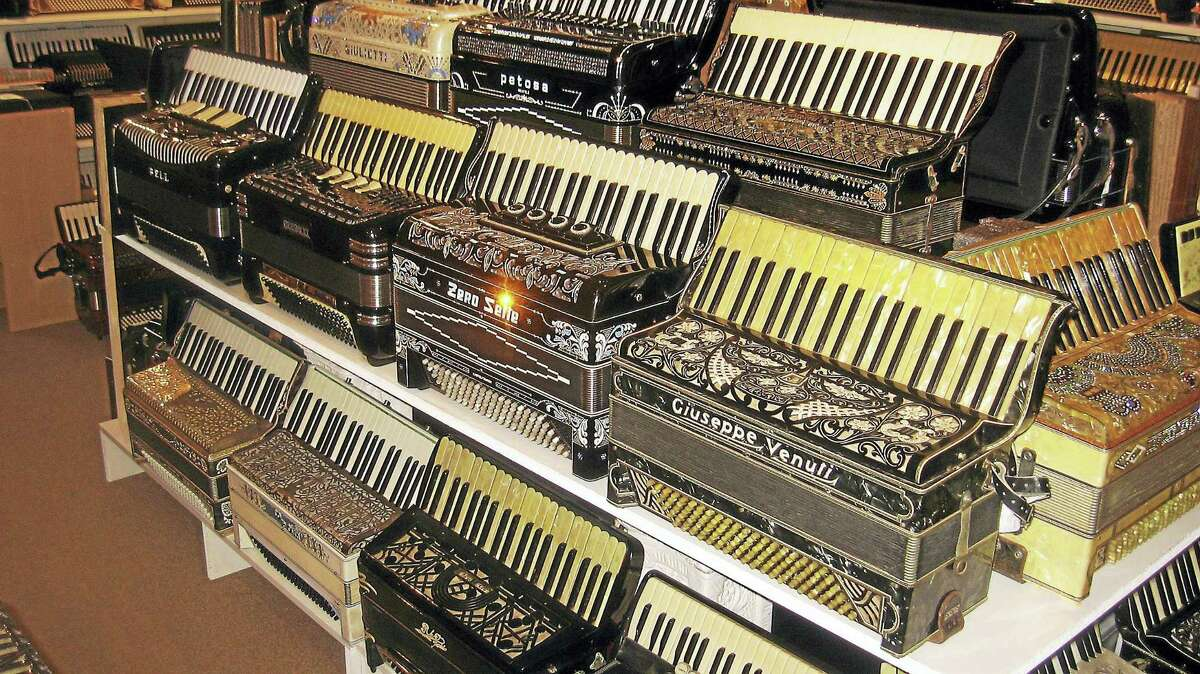 A line of accordions at Paul Ramunni's Canaan museum.