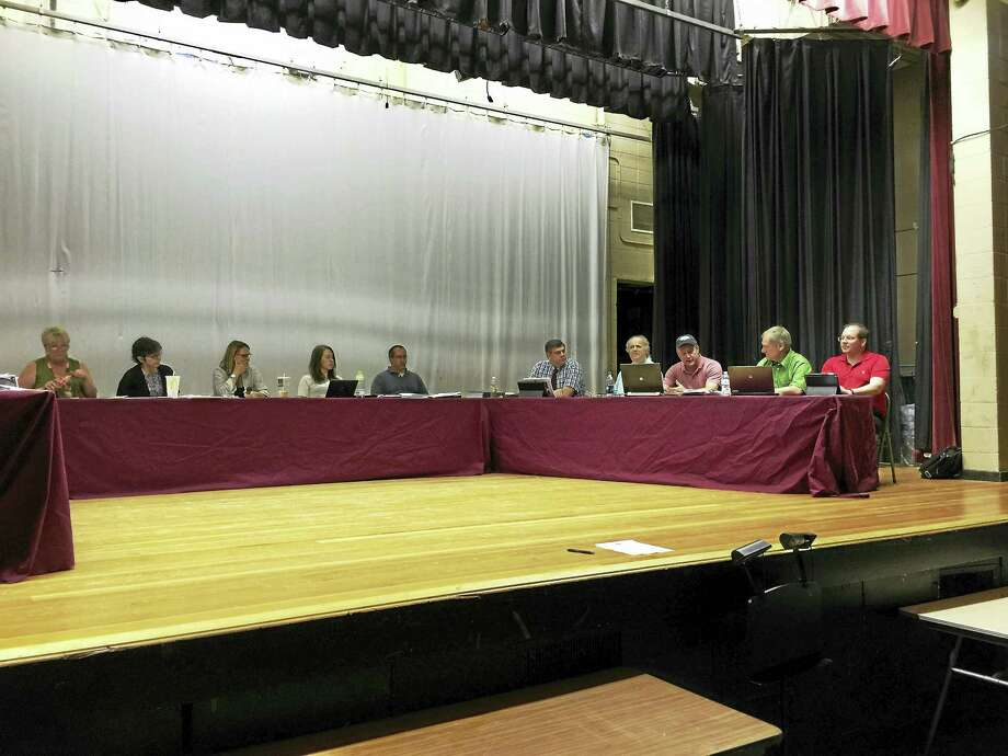 The Torrington Board of Education deliberates over potential budget reductions Thursday. Photo: BEN LAMBERT — The Register Citizen