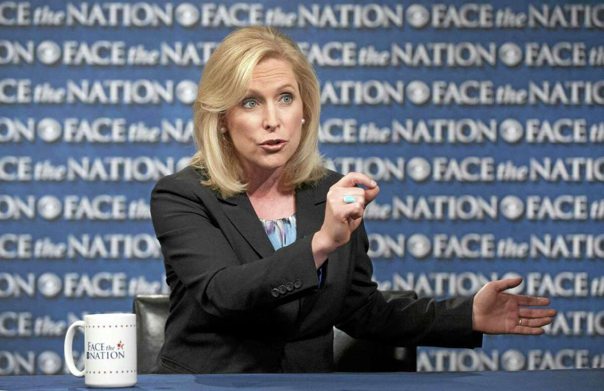 "This June 6, 2013, photo released by CBS News on June 9, 2013, shows Sen. Kirsten Gillibrand, D-N.Y.,speaking during a pre-taped interview for ""Face the Nation"" in Washington. Gillibrand spoke about sexual in assault in the military."