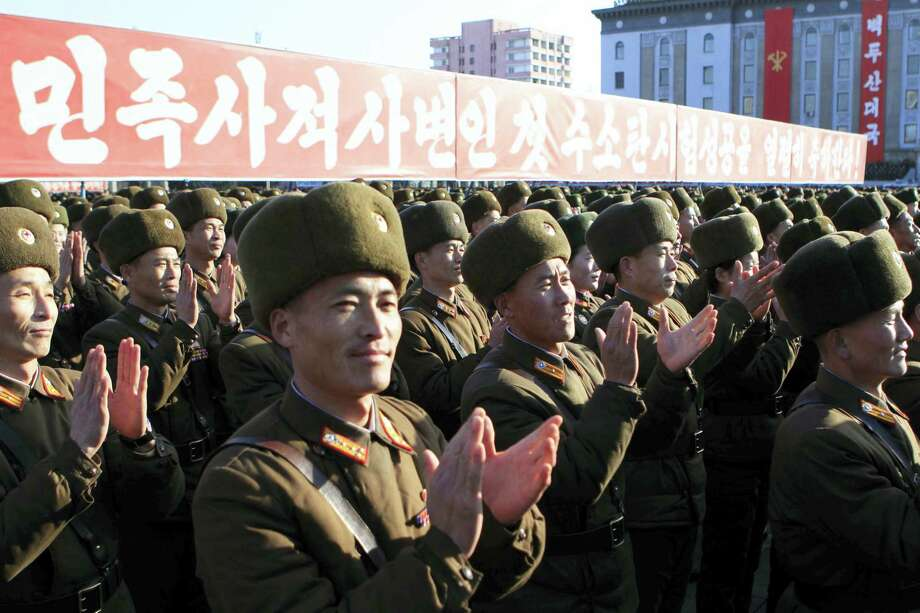 North Korean military personnel clap hands in a rally, after North Korea said Wednesday it had conducted a hydrogen bomb test, at the Kim Il Sung Square in Pyongyang, Friday, Jan. 8, 2016.  As world leaders debated ways to penalize North Korea's claim of a fourth nuclear test, South Korea voiced its displeasure with broadcasts of anti-Pyongyang propaganda across the rivals' tense border Friday, believed to be the birthday of North Korean leader Kim Jong Un. Photo: AP Photo/Jon Chol Jin   / AP