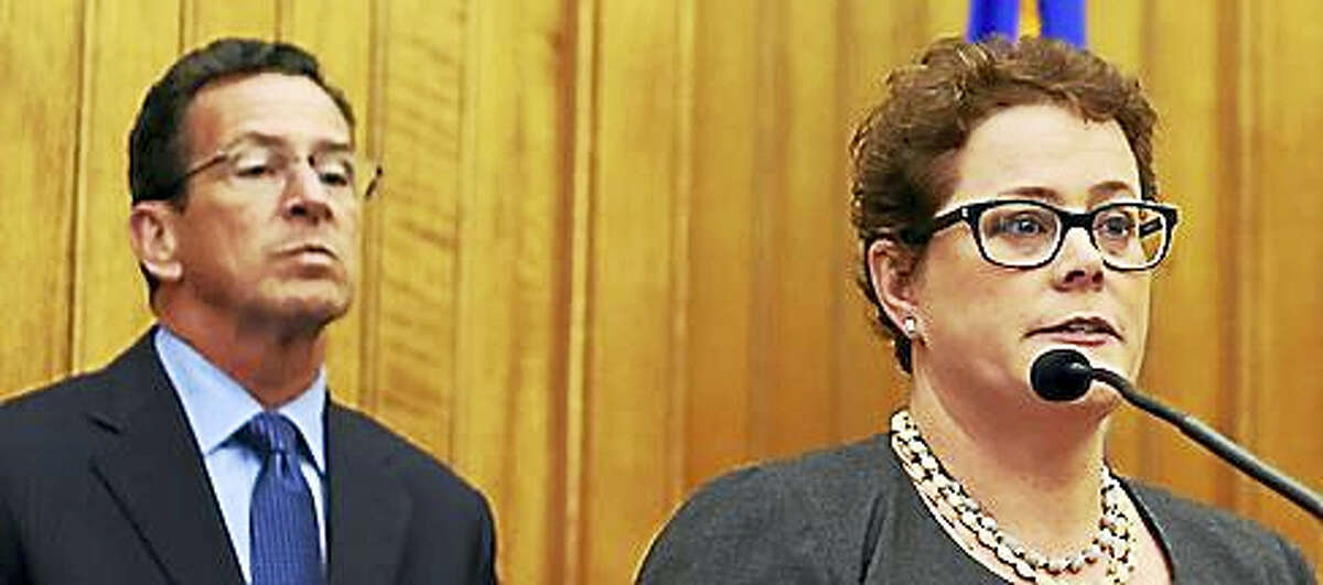 Insurance Commissioner Katharine Wade and Gov. Dannel P. Malloy