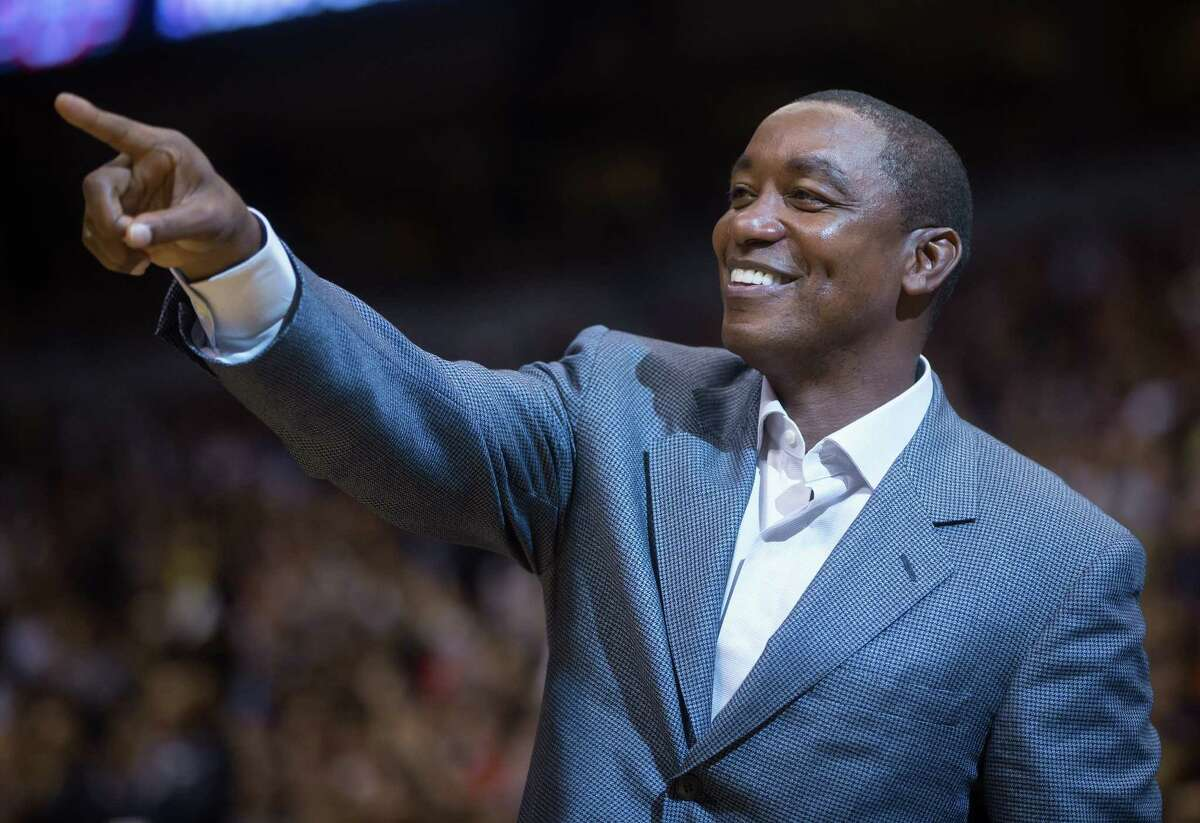 In this Oct. 5, 2014 file photo, Isiah Thomas acknowledges applause from the crowd during a preseason NBA game between the Toronto Raptors and Sacramento Kings in Vancouver, British Columbia.