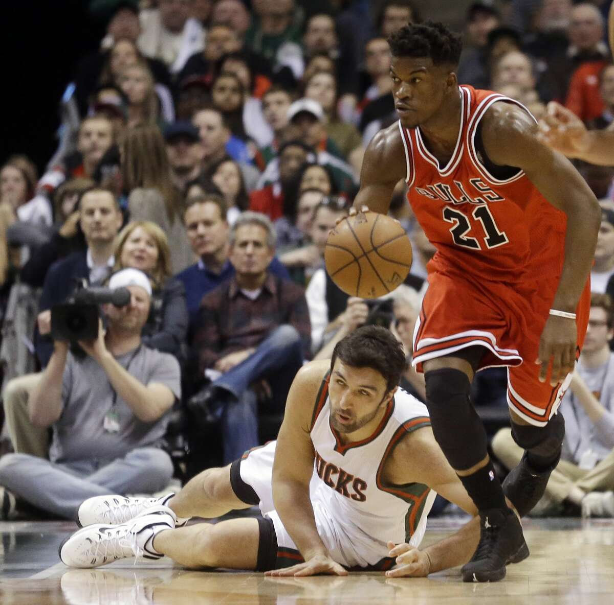 The Chicago Bulls' Jimmy Butler (21) was selected as the NBA's Most Improved Player.