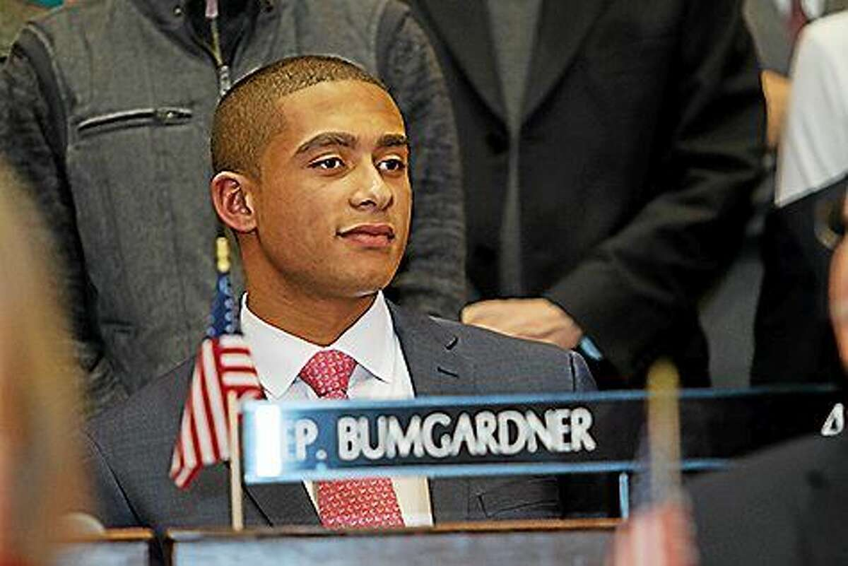 Aundré Bumgardner, 20, of Groton City, became the youngest member of the Connecticut legislature Wednesday when he was sworn in for his first term in office. Bumgardner, a Republican, unseated a four-term incumbent Democrat in November to take the 41st district seat.