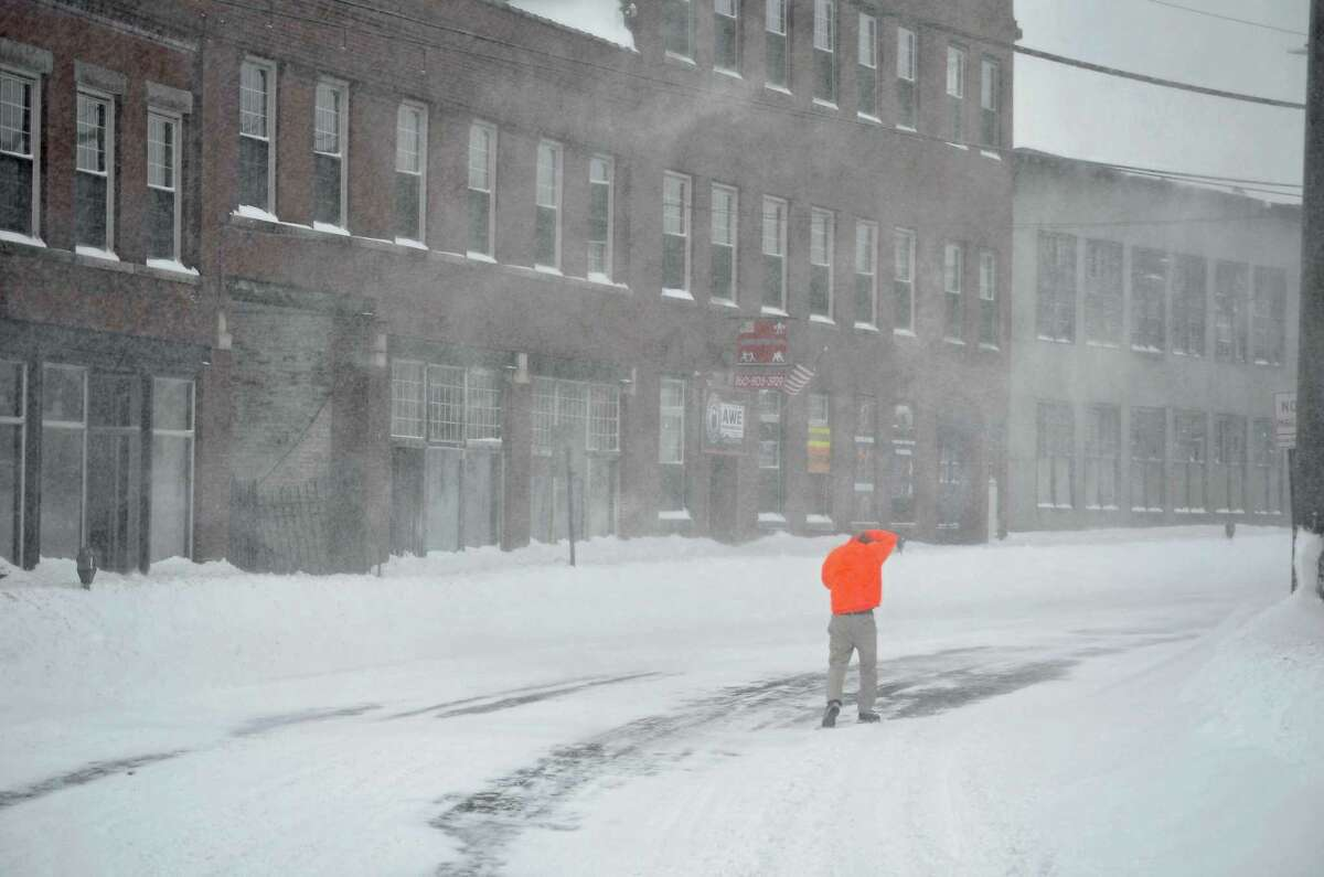 Heavy winds were moving the snow around, making travel dangerous, during a storm in 2013 in Torrington.