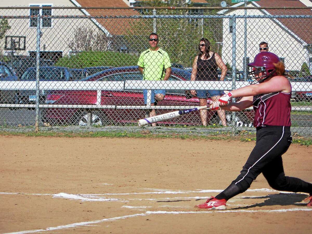 Torrington's UConn recruit, Marissa Morris, was 2-for-2 against Southington's Boston College pitching recruit, Kendra Friedt in the Blue Knights' 2-0 win at Southington High School Thursday afternoon.