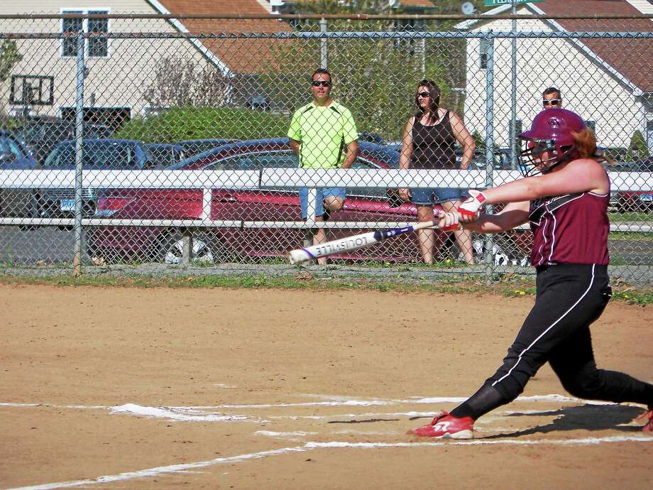 Torrington's UConn recruit, Marissa Morris, was 2-for-2 against Southington's Boston College pitching recruit, Kendra Friedt in the Blue Knights' 2-0 win at Southington High School Thursday afternoon. Photo: Peter Wallace — Register Citizen