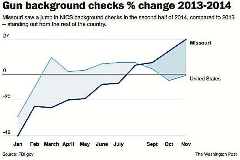 Gun background checks in Missouri have jumped since the unrest in Ferguson. Illustrates FERGUSON-GUNS (category a), by Todd C. Frankel (c) 2015, The Washington Post. Moved Wednesday, Jan. 7, 2015. (MUST CREDIT: The Washington Post) Photo: THE WASHINGTON POST / THE WASHINGTON POST