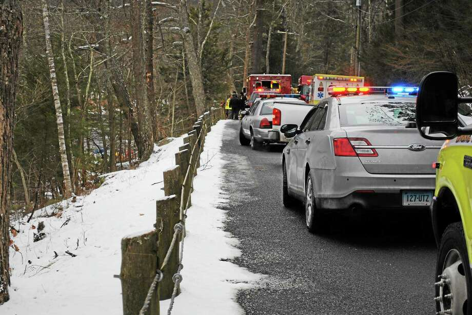 A 46-year-old man died after crashing his car into the Farmington River Wednesday in Barkhamsted. Photo: Kaitlin McCallum — Register Citizen