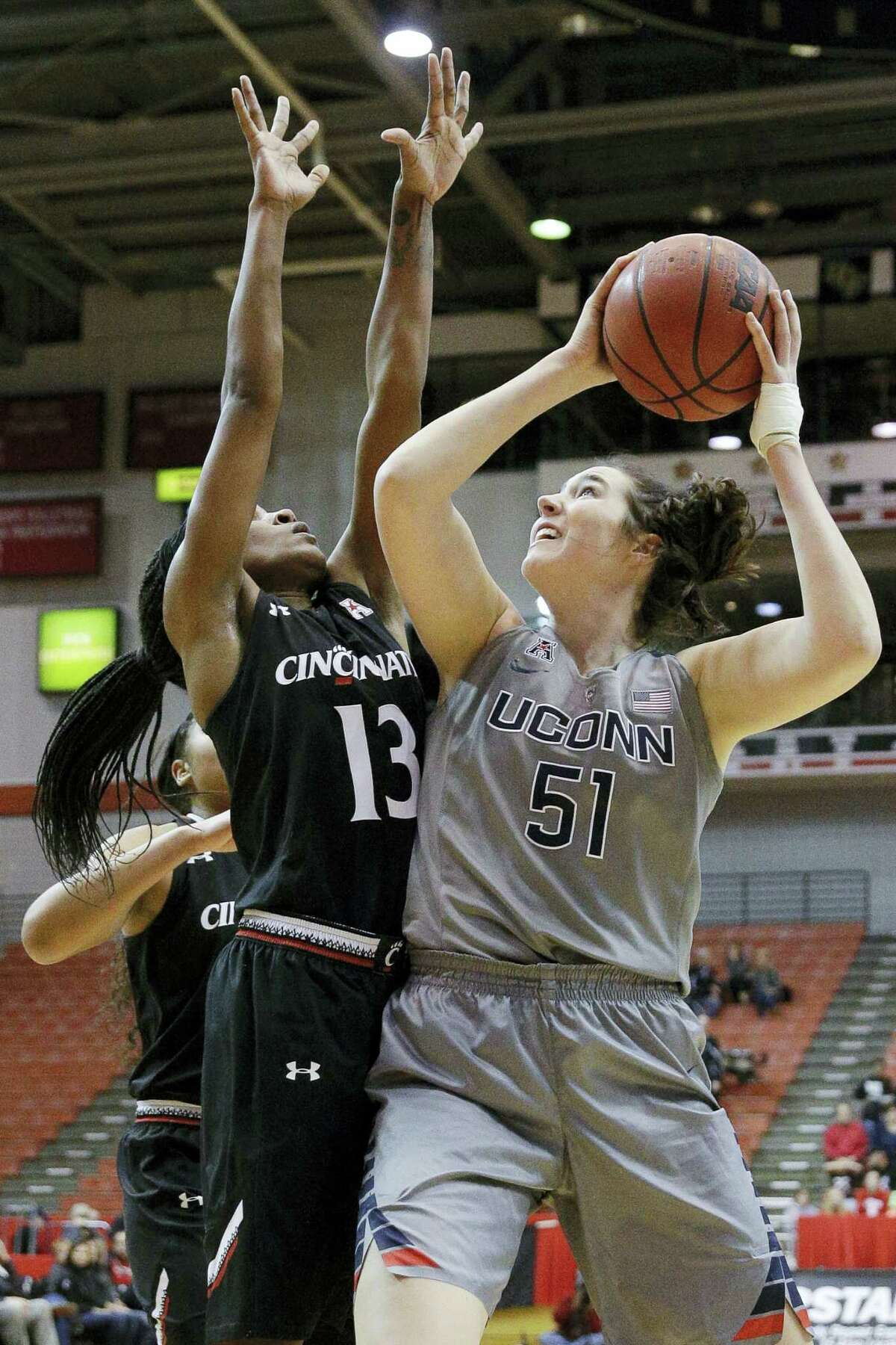 UConn's Natalie Butler had 11 points and eight rebounds in her UConn debut against Cincinnati on Dec. 30.