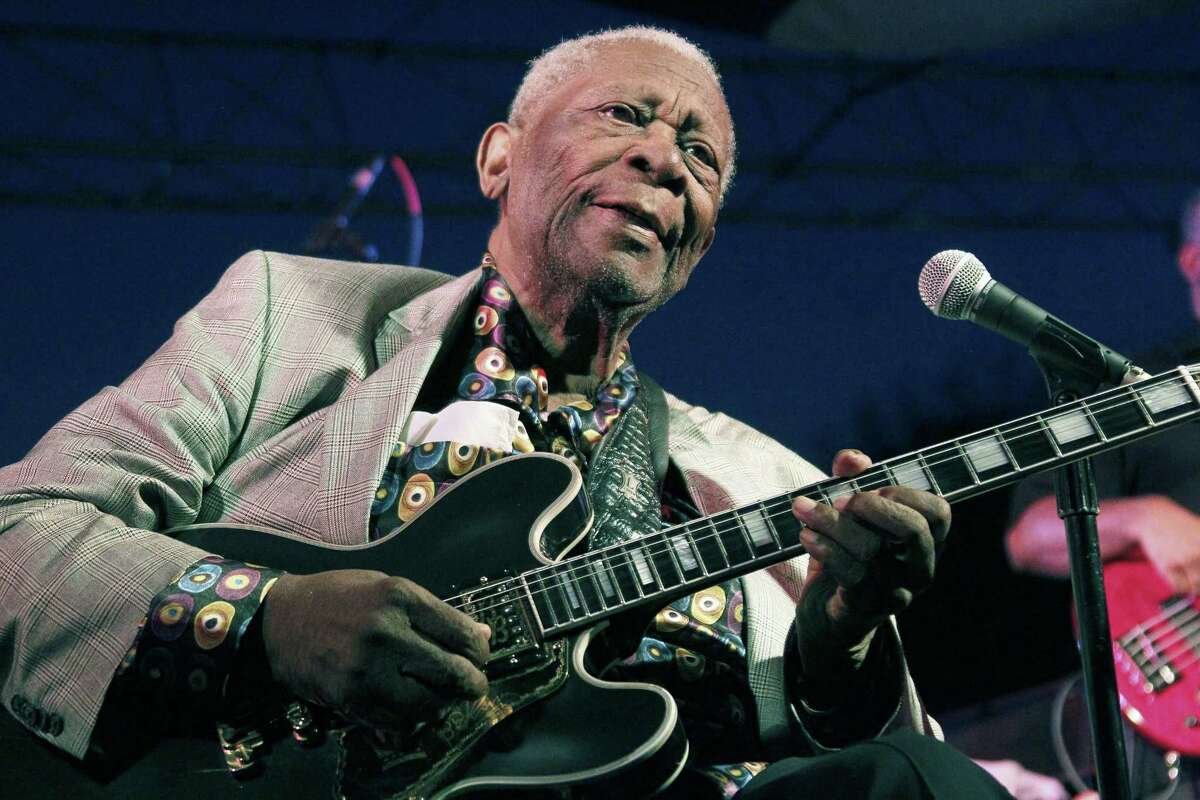 FILE - In this file photo taken Aug. 22, 2012, B.B. King performs at the 32nd annual B.B. King Homecoming, a concert on the grounds of an old cotton gin where he worked as a teenager in Indianola, Miss. The Blues legend King is telling fans heís in hospice care at home in Las Vegas. The 89-year-old musician posted thanks to fans on his official website Friday, May 1, 2015, for well-wishes and prayers.
