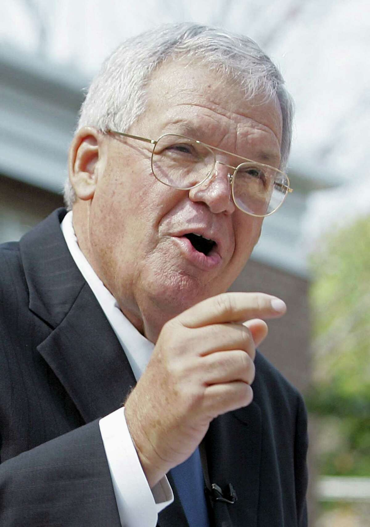 In this Aug. 17, 2007, file photo, former House Speaker Dennis Hastert, R-Ill., announces that he will not seek re-election for a 12th term in Yorkville, Ill. Federal prosecutors eventually indicted the former U.S. House Speaker on bank-related charges.