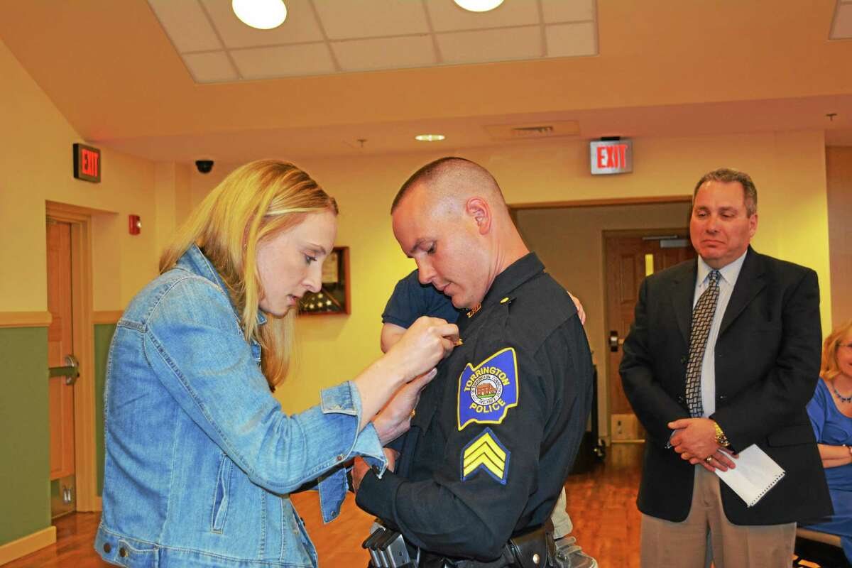 Members of the Torrington Police and Fire Departments were pinned for their new promotions during the Board of Public Safety meeting on Wednesday.