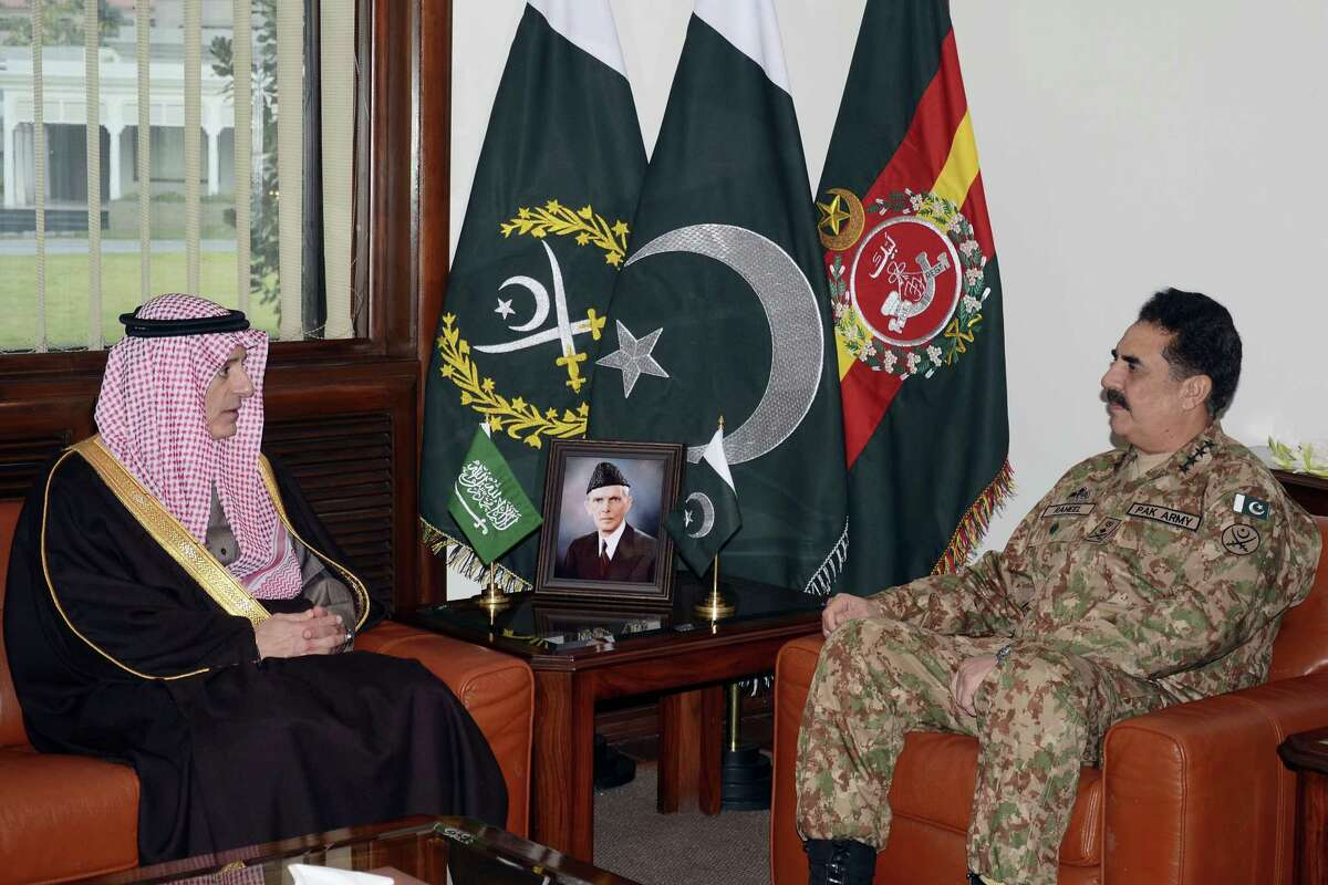 In this photo released by Inter Services Public Relations, Pakistani Army Chief General Raheel Sharif, right, meets Saudi Foreign Minister Adel al-Jubeir in Rawalpindi, Pakistan, Thursday, Jan. 7, 2016. Adel al-Jubeir has arrived in Pakistan's capital Islamabad amid growing tension with Iran over a Shiite cleric's recent execution by Saudis authorities.