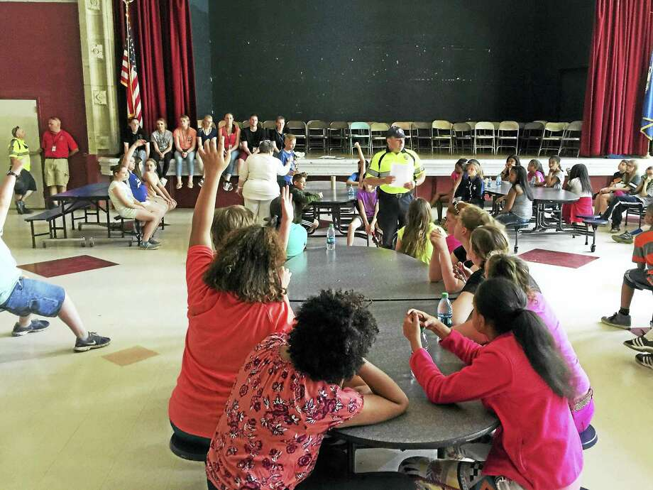 Pearson students reviewed the lessons they learned during this year's DARE program Thursday. Photo: BEN LAMBERT — The Register CItizen
