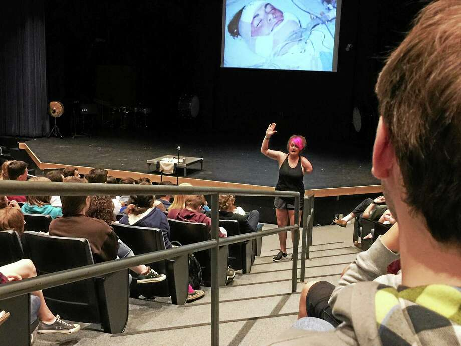 Sarah Panzau-Evans speaks to Litchfield high school students Thursday morning. Photo: Ben Lambert — The Register Citizen