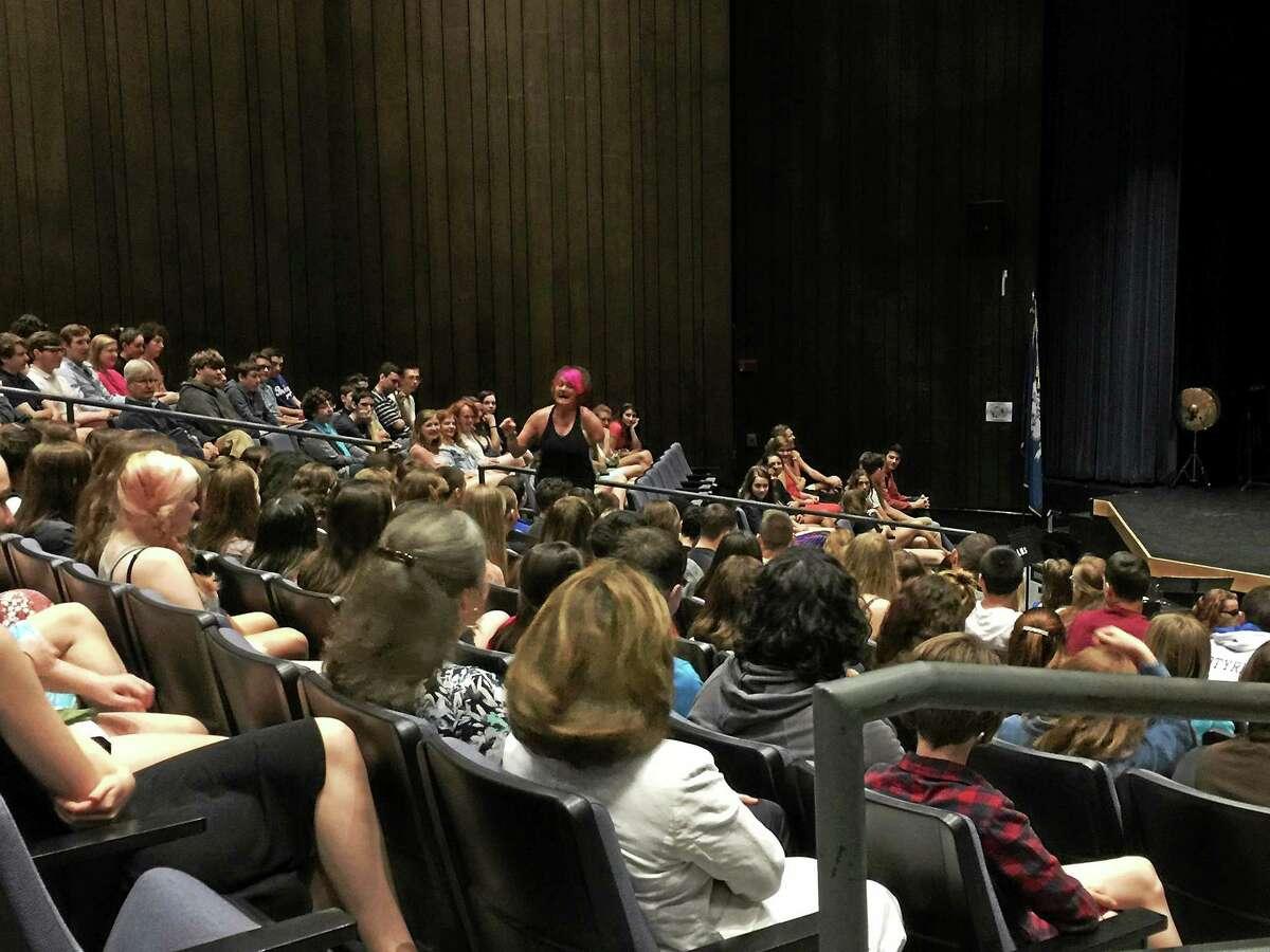 Sarah Panzau-Evans speaks to Litchfield high school students Thursday morning.