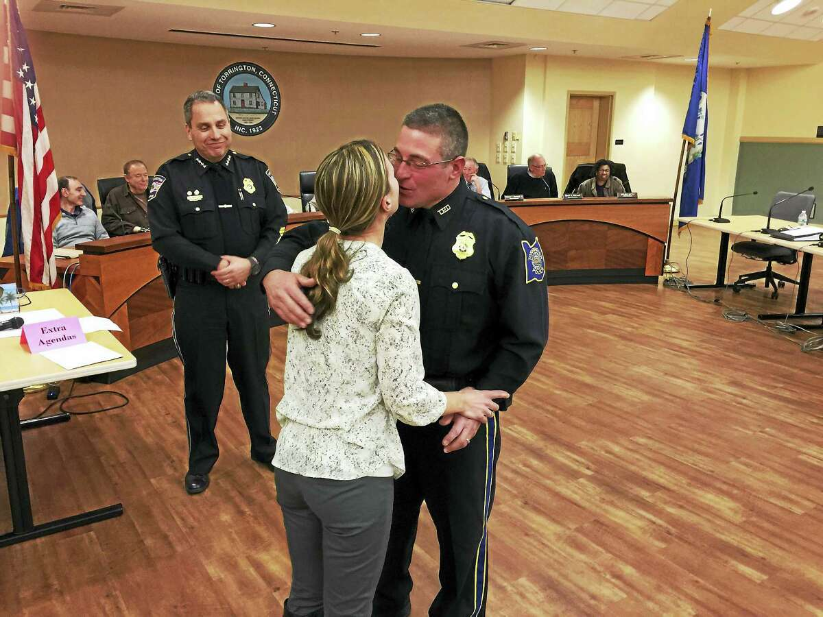 Sgt. William Bernabucci was recognized Wednesday evening for his recent promotion, as he was honored with a pinning ceremony at a meeting of the Board of Public Safety.
