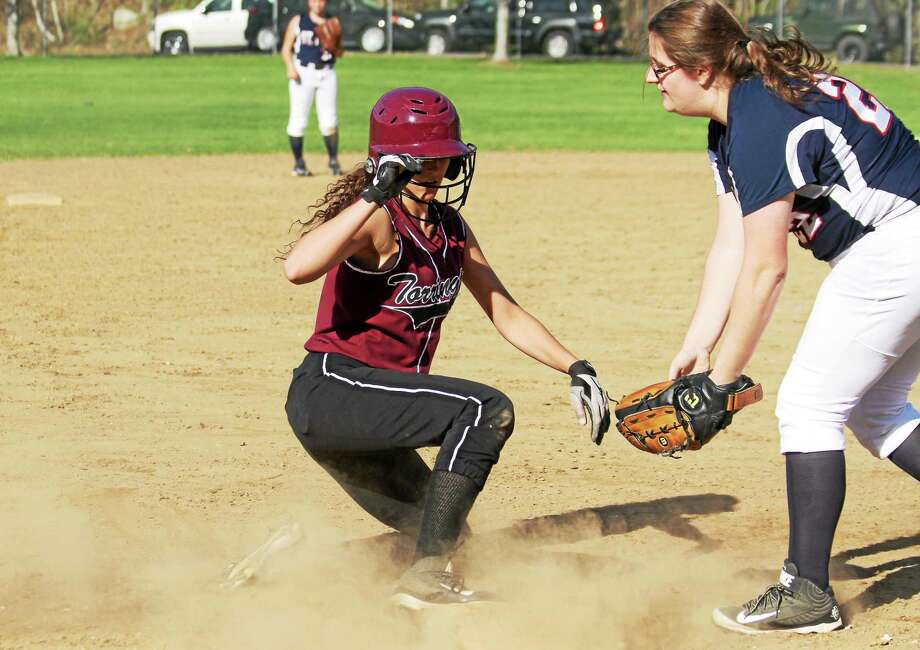 Carissa Carbone is safe at 3rd. Photo: Journal Register Co. / 2014