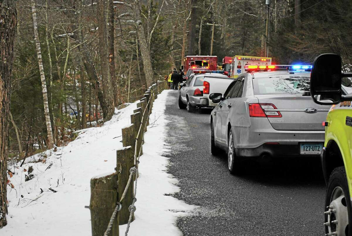 Officials responded to a car in the water in Barkhamsted on Wednesday.
