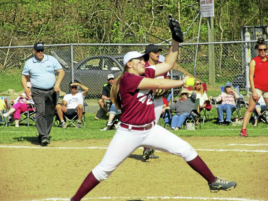 Torrington's Ali Dubois threw a one-hitter with 13 strikeouts in the Red Raiders' tournament-style win against Wolcott Wednesday at Torrington High School. Photo: Photo By Peter Wallace