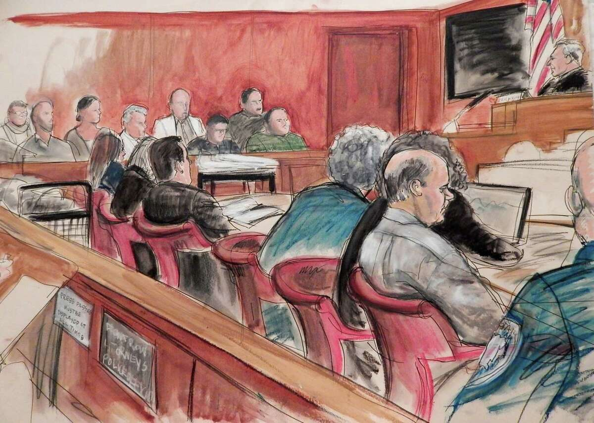 In this April 27, 2015 courtroom sketch, defendant Pedro Hernandez, in profile at right, sits at a table with his defense team as Judge Maxwell Wiley, upper right, addresses the jury, in background, in Manhattan state Supreme Court, where Hernandez is on trial in New York in the case of missing first-grader Etan Patz who disappeared four decades ago on his way to school. Fifteen days into their deliberations, jurors have twice said they can't reach a unanimous verdict and have been told to keep trying. They are weighing murder and kidnapping charges against Hernandez, 54, who confessed three years ago to killing 6-year-old Etan in 1979; his lawyers say his confession was imaginary and another suspect is the more likely killer. Harvey Fishbein, lead defense attorney, is in blue suit at center of table. (AP Photo/Elizabeth Williams)